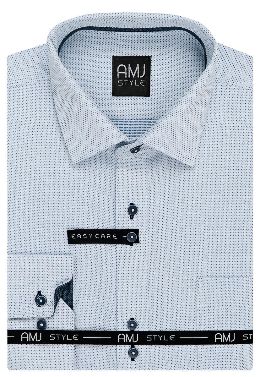 Pánská košile AMJ bílá puntíkovaná VDR935, dlouhý rukáv