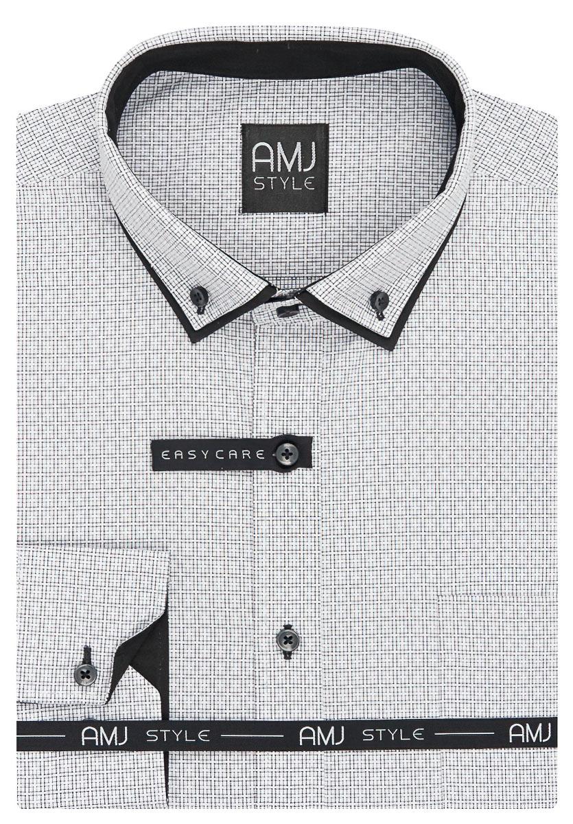 Pánská košile AMJ bílá kostičkovaná VDSL927, dlouhý rukáv, slim fit