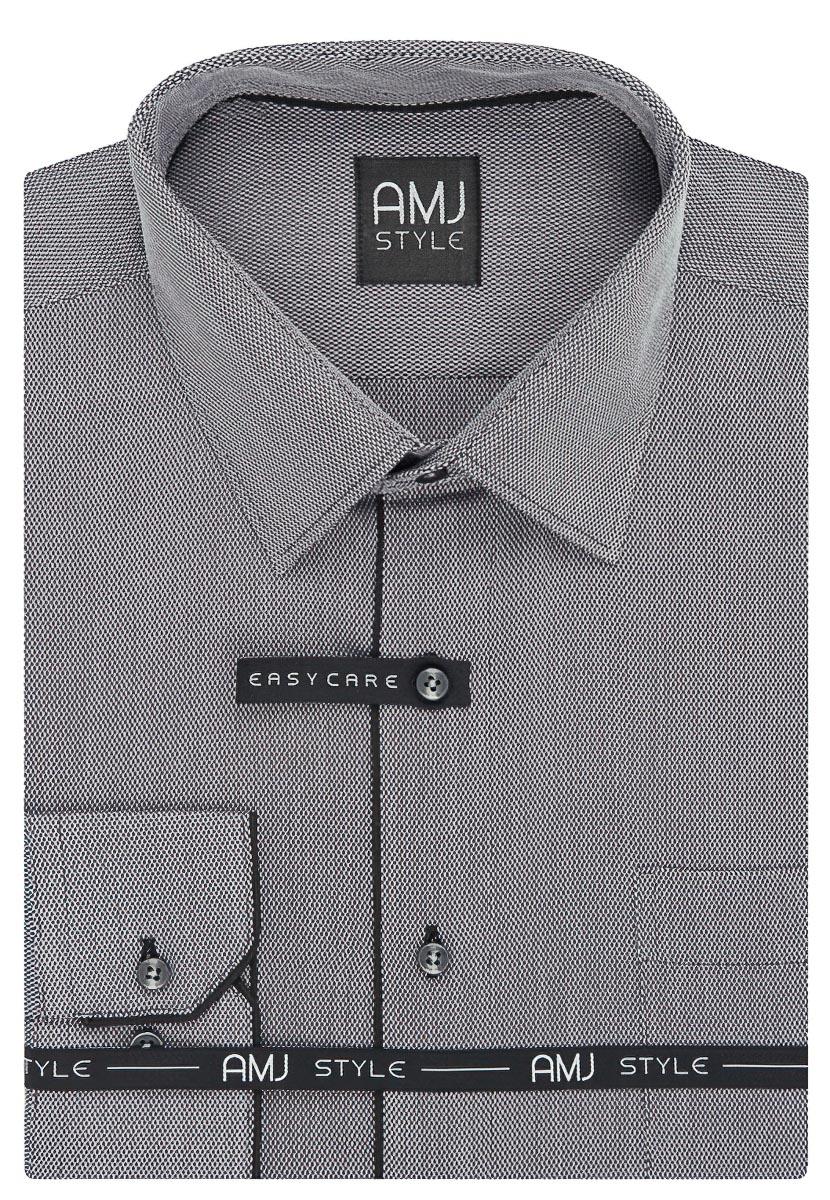 Pánská košile AMJ světle šedá vzorovaná VDSR929 11aa7f849a