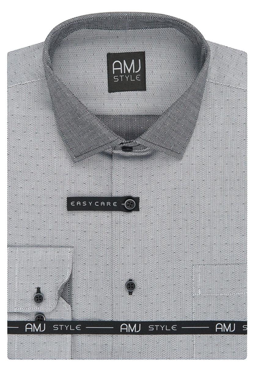 Pánská košile AMJ šedá síťovaná VDZ928, dlouhý rukáv