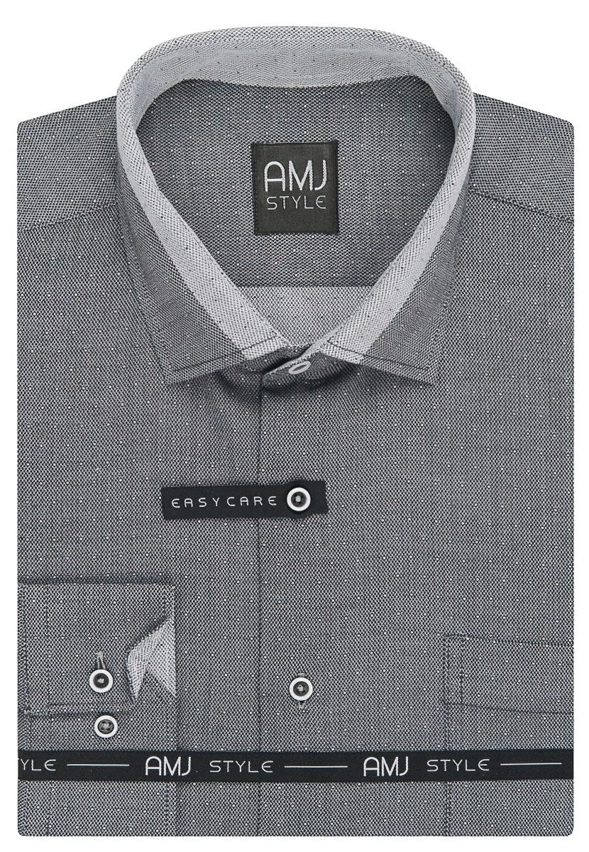 Pánská košile AMJ šedá síťovaná VDZ938, dlouhý rukáv