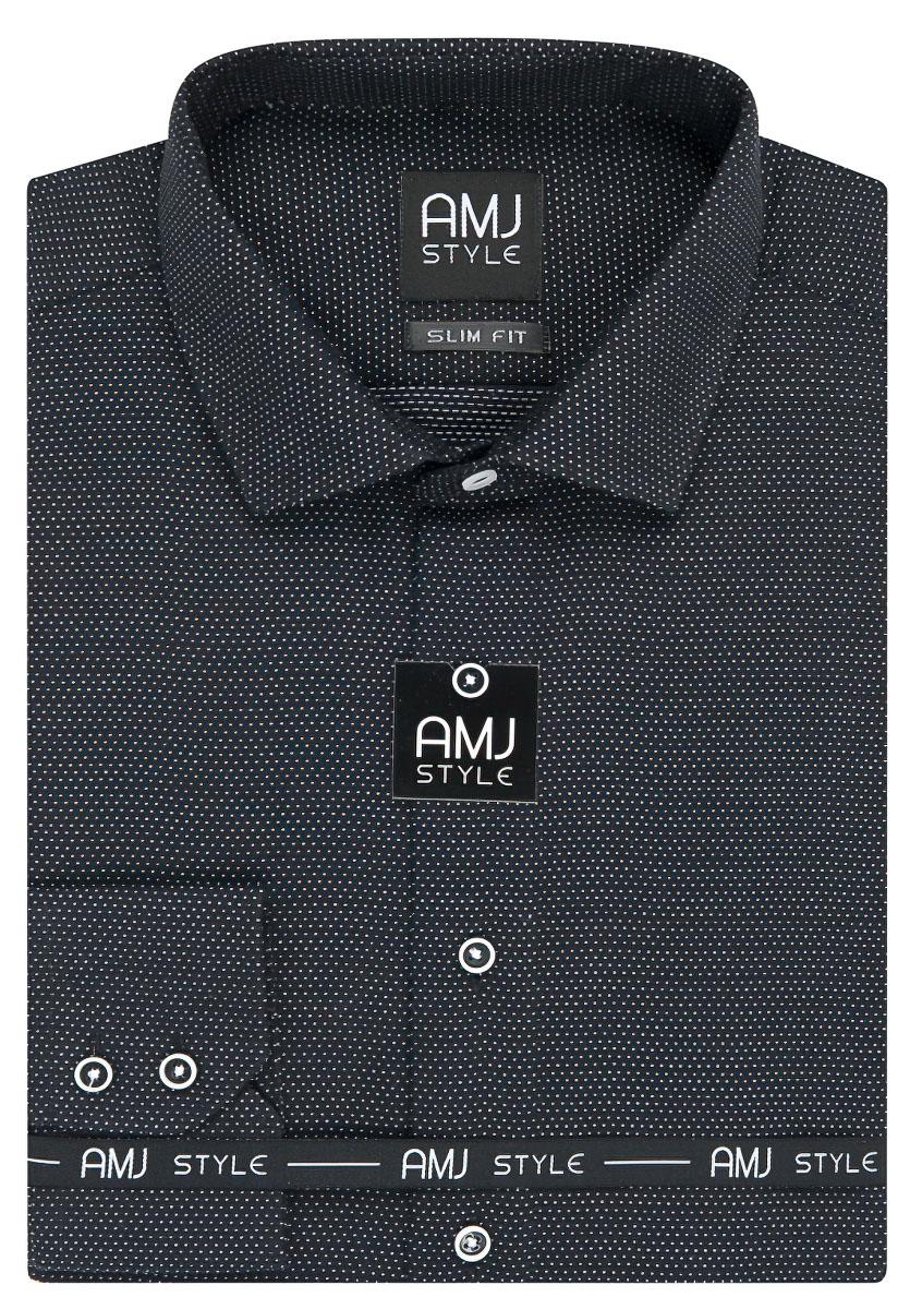 Pánská košile AMJ černá puntíkovaná VDPS947, dlouhý rukáv, prodloužená délka, slim fit