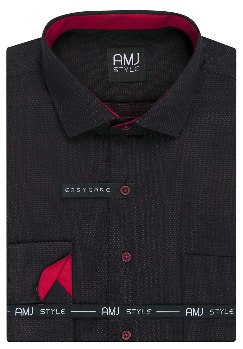 Pánská košile AMJ černá puntíkovaná VDR950, dlouhý rukáv