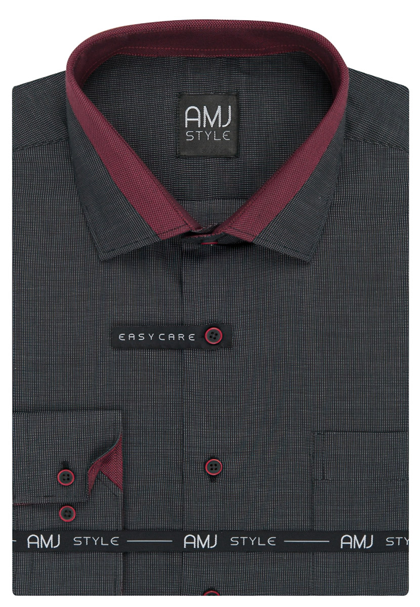 Pánská košile AMJ černá tečkovaná VDZ925, dlouhý rukáv