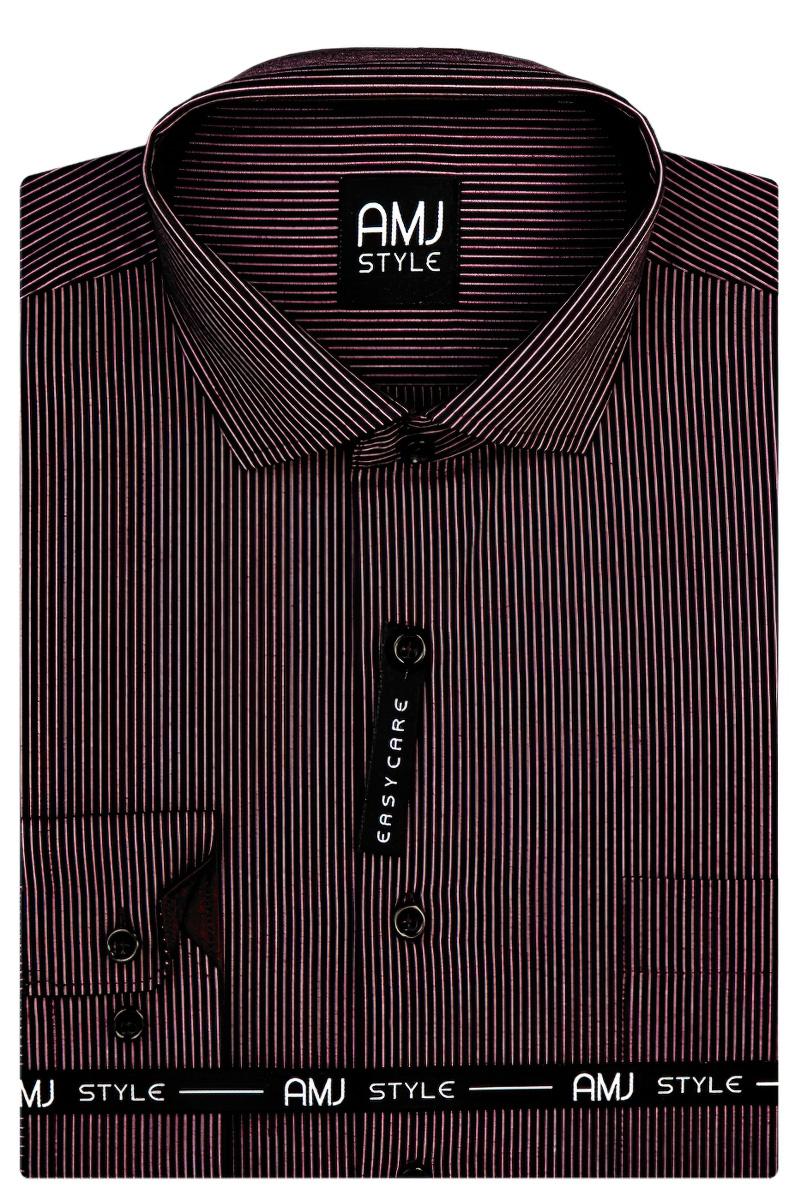 Pánská košile AMJ tmavě sytě fialová s proužkem VDPR863 dlouhý rukáv, prodloužená délka