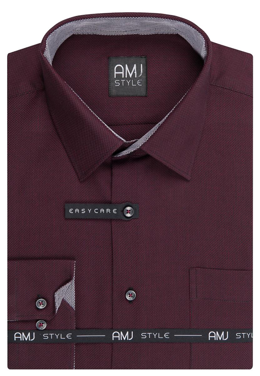 Pánská košile AMJ tmavě vínová proužkovaná VDPR923, dlouhý rukáv, prodloužená délka