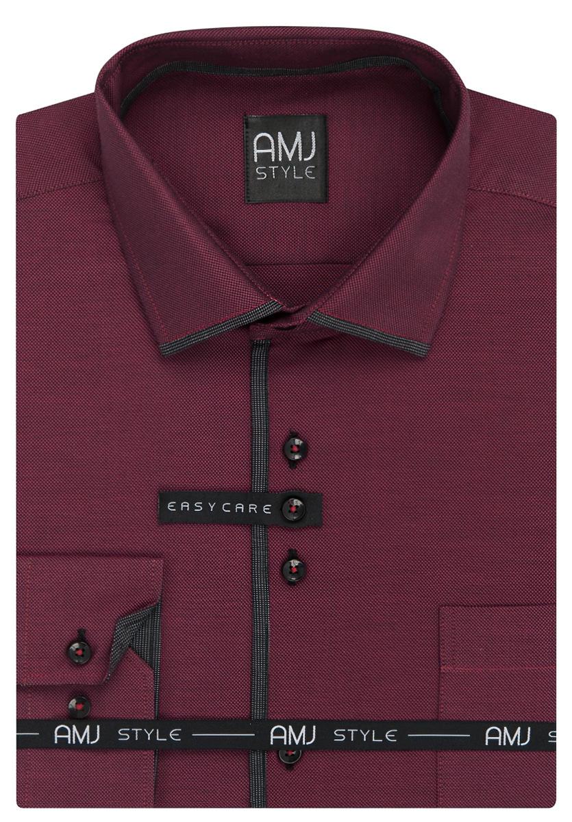 Pánská košile AMJ vínová síťovaná VDZ924, dlouhý rukáv