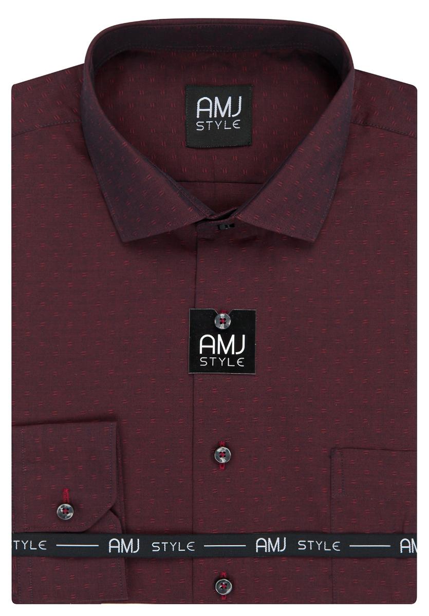 Pánská košile AMJ vínová vzorovaná VDP948, dlouhý rukáv, prodloužená délka