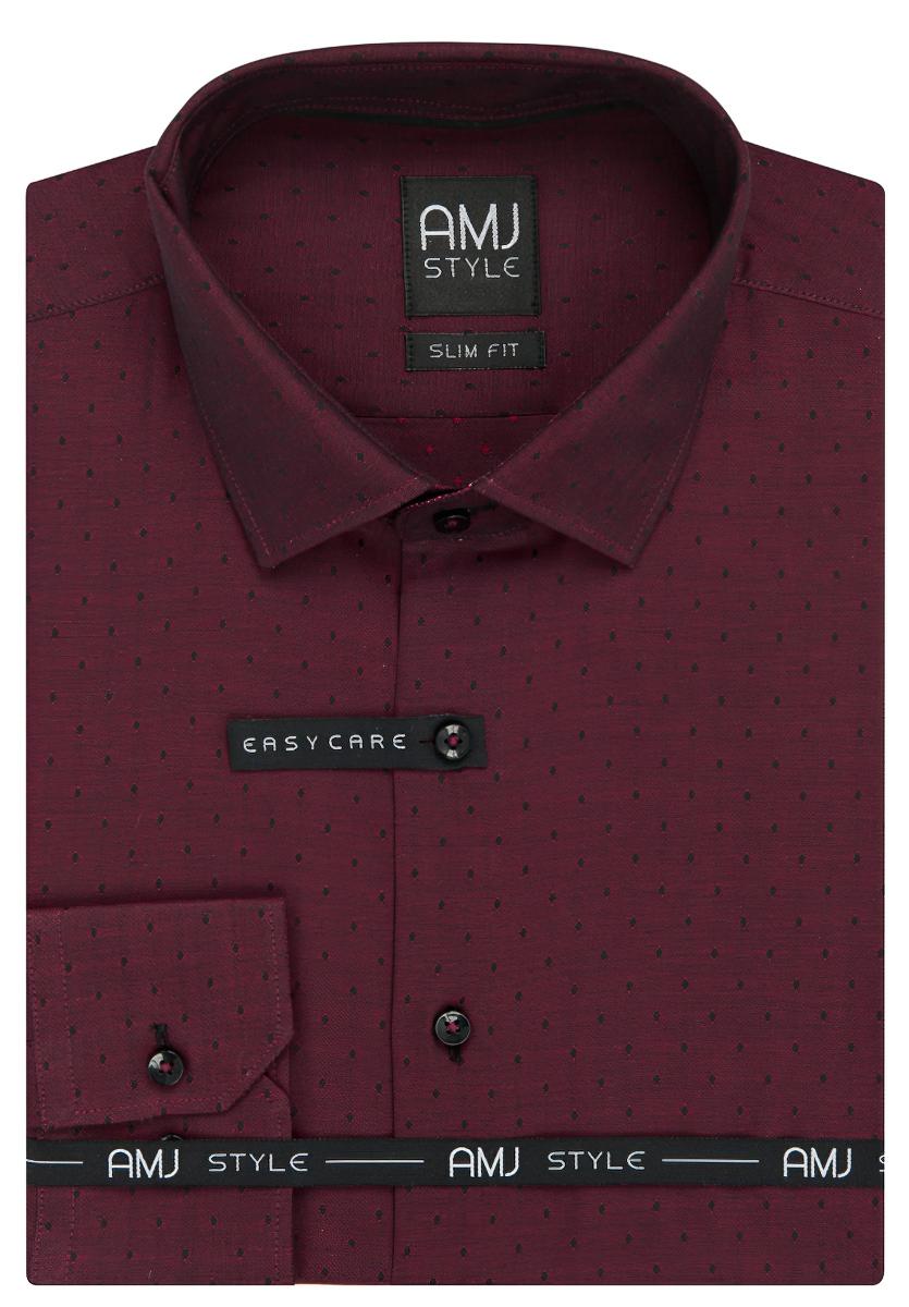 Pánská košile AMJ vínová puntíkovaná VDPSR926, dlouhý rukáv, prodloužená délka, slim fit