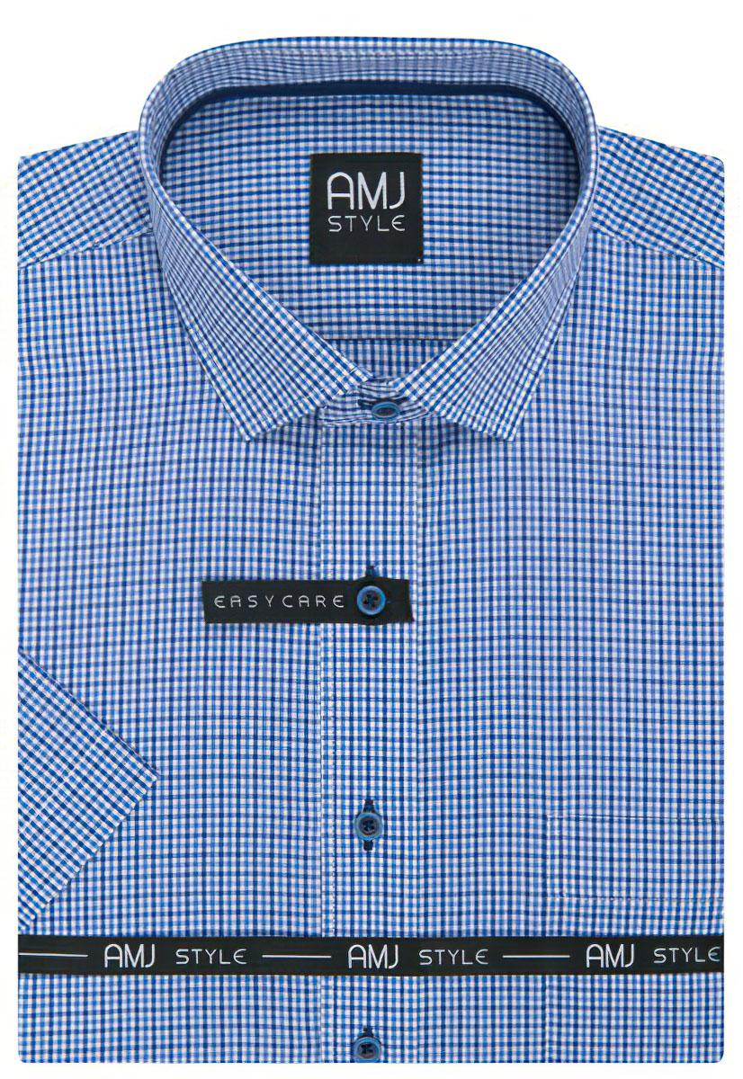 Pánská košile AMJ světle modrá kostičkovaná VKR891 f29a256b5b