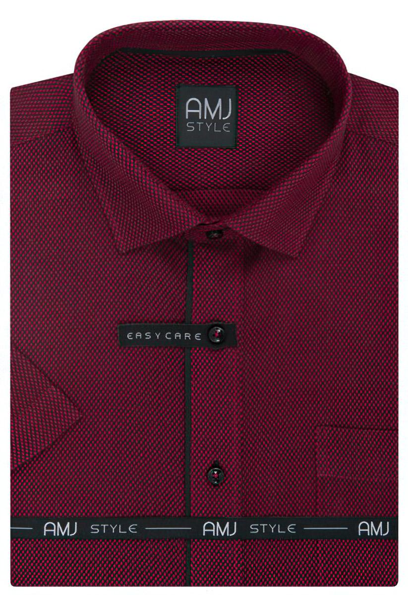 aad191e6972 Pánská košile AMJ vínová se síťovaným vzorem VKR984
