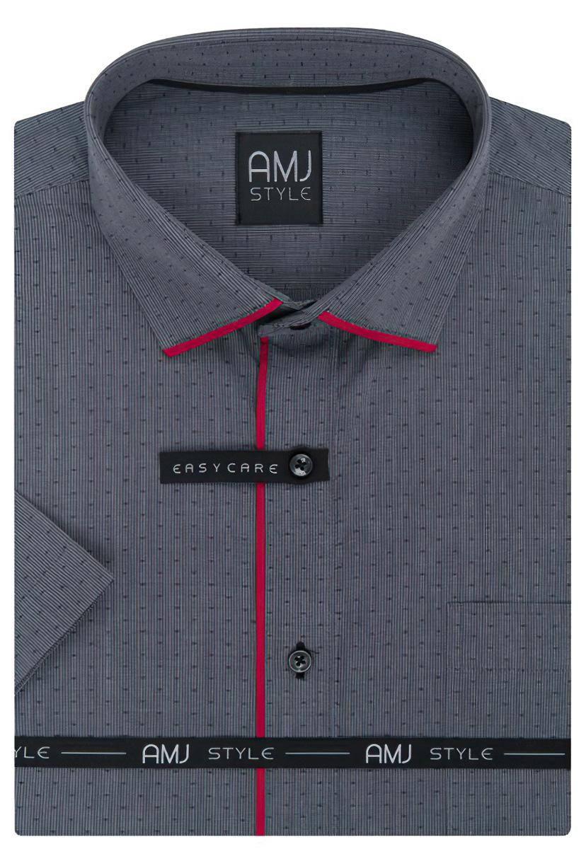 2a5705d6906 Pánská košile AMJ tmavě šedá s tečkami VKZ981