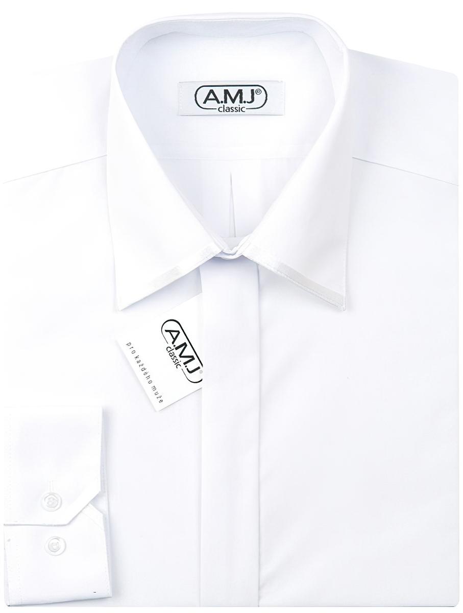 Pánská luxusní košile AMJ bílá JDAP018SAT, dlouhý rukáv, prodloužená délka, zdobený límec