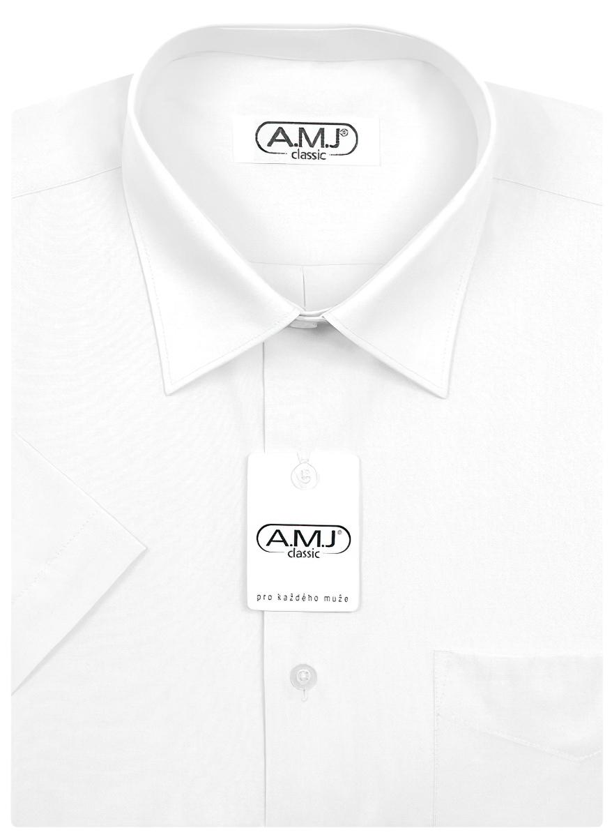 Pánská košile AMJ jednobarevná JKS018, bílá, krátký rukáv, slim fit