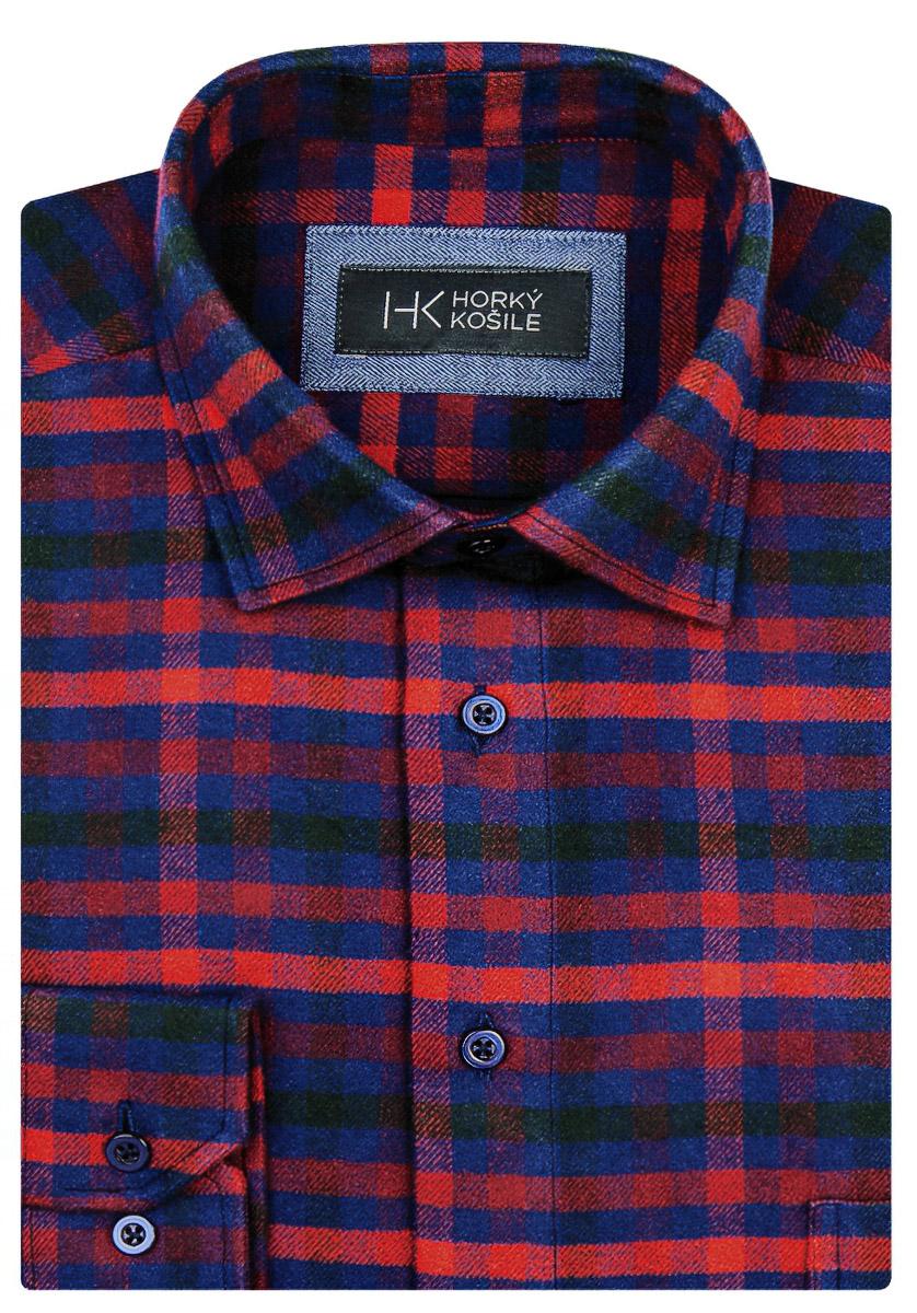 Pánská košile LUIZ flanelová červeno-modré káro BRUNO 75, dlouhý rukáv
