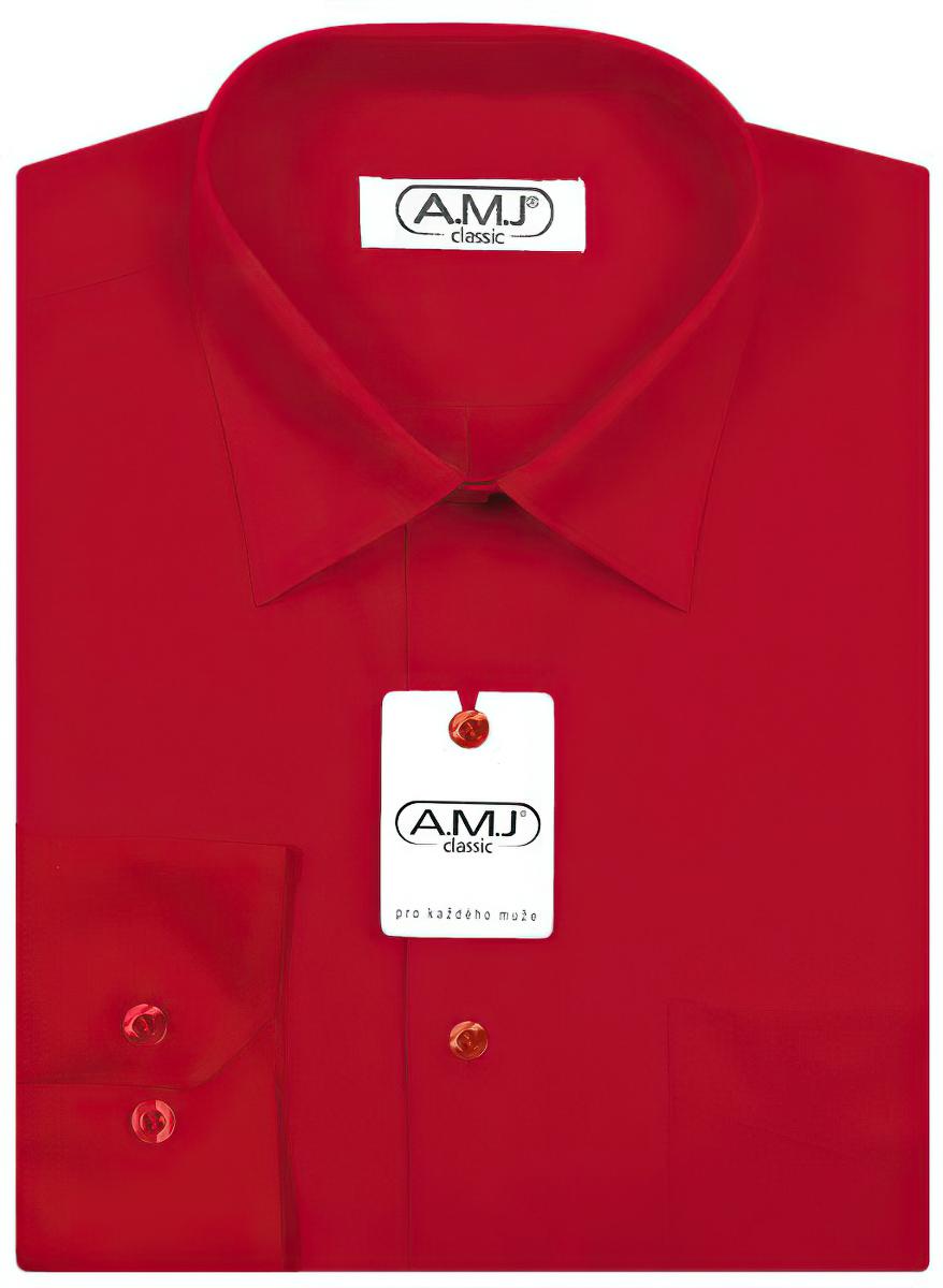 Pánská košile AMJ jednobarevná JD076, červená, dlouhý rukáv