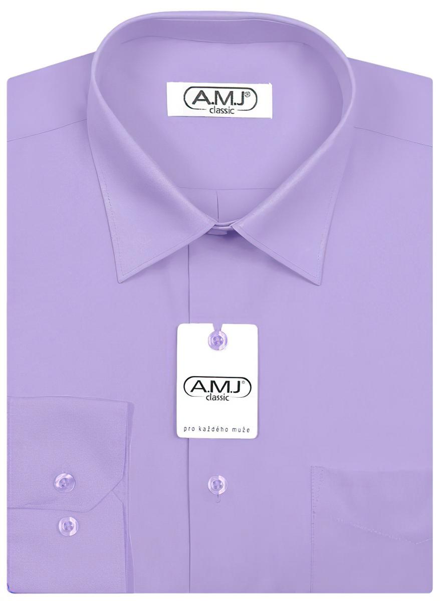 Pánská košile AMJ jednobarevná JD062, fialková, dlouhý rukáv