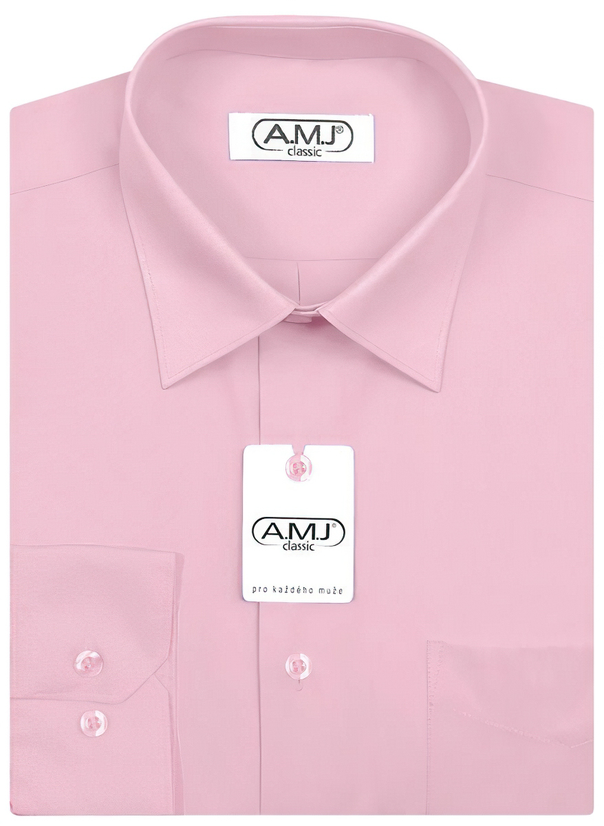 Pánská košile AMJ jednobarevná JD090, fialková, dlouhý rukáv