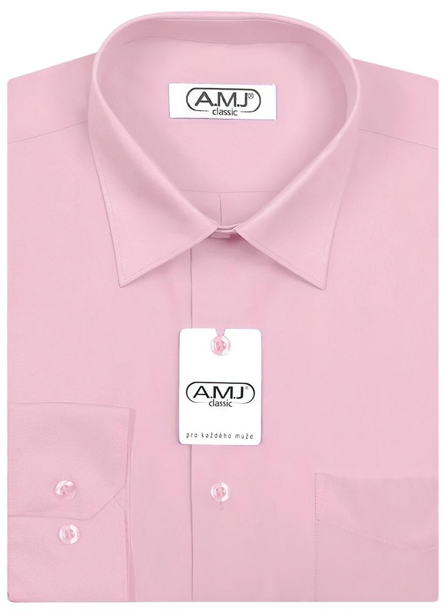 Pánská košile AMJ jednobarevná JDP090, světle fialová, dlouhý rukáv, prodloužená délka