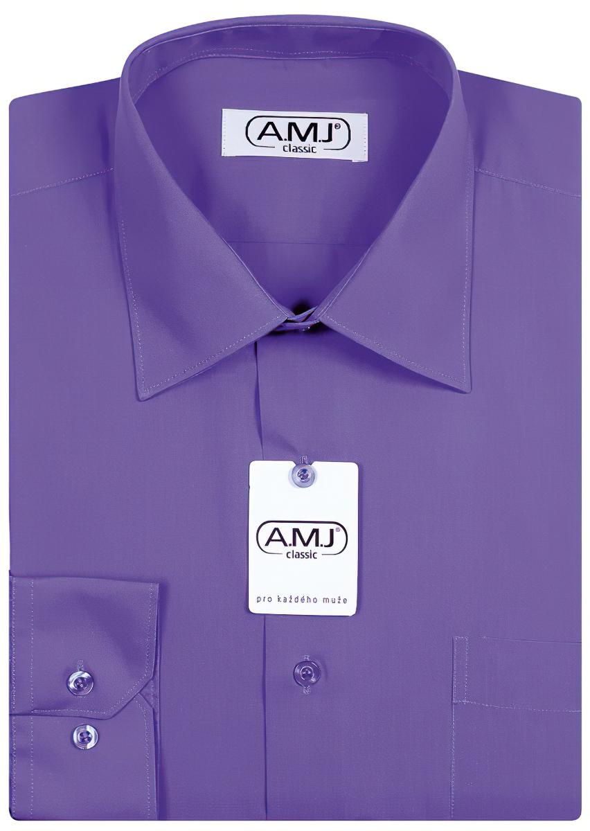 Pánská košile AMJ jednobarevná JDP075, fialová, dlouhý rukáv, prodloužená délka