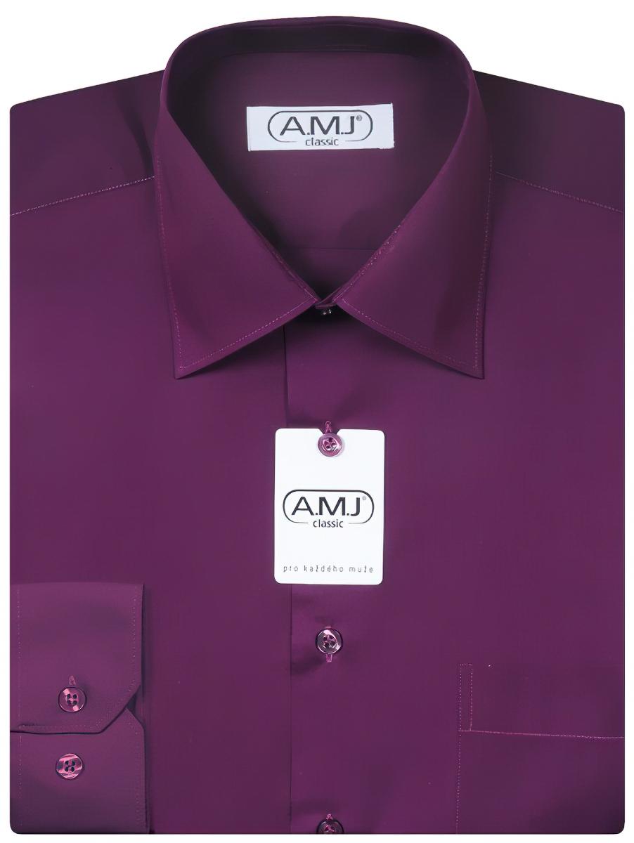 Pánská košile AMJ jednobarevná JD084, tmavě fialová, dlouhý rukáv