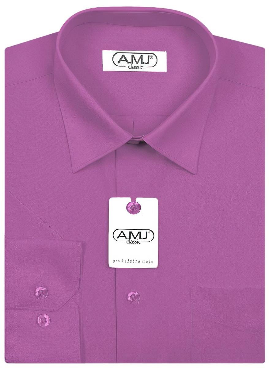 Pánská košile AMJ jednobarevná JDP081, fuchsie, dlouhý rukáv, prodloužená délka