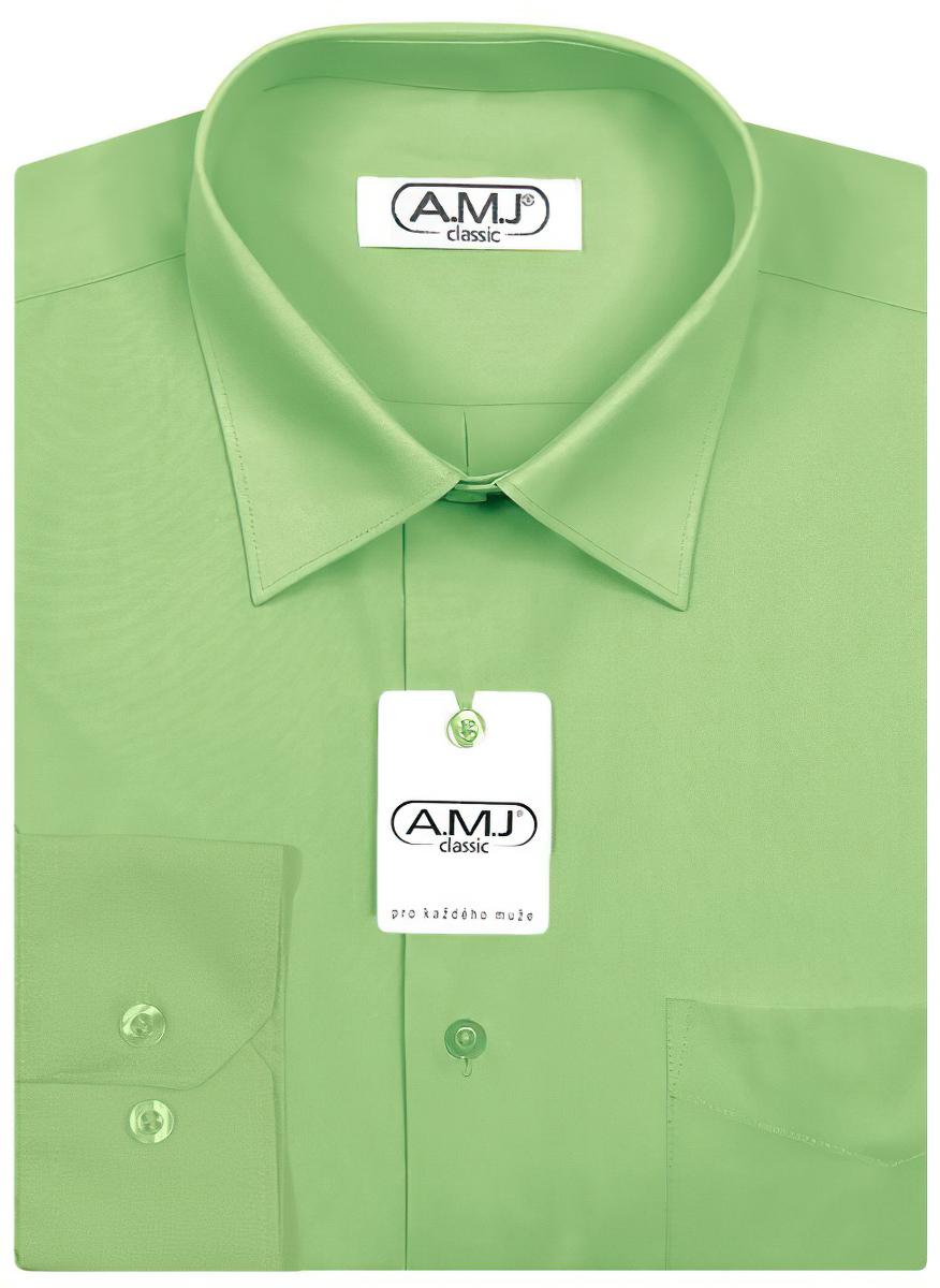 Pánská košile AMJ jednobarevná JDP042, jablková, dlouhý rukáv, prodloužená délka