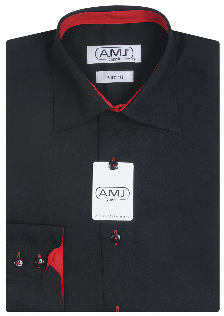 Pánská košile AMJ jednobarevná JDSR017, černá, dlouhý rukáv, slim fit