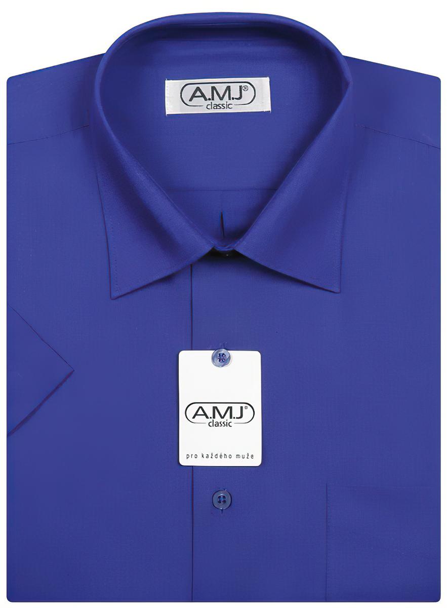 Pánská košile AMJ jednobarevná JK022, královská modrá, krátký rukáv
