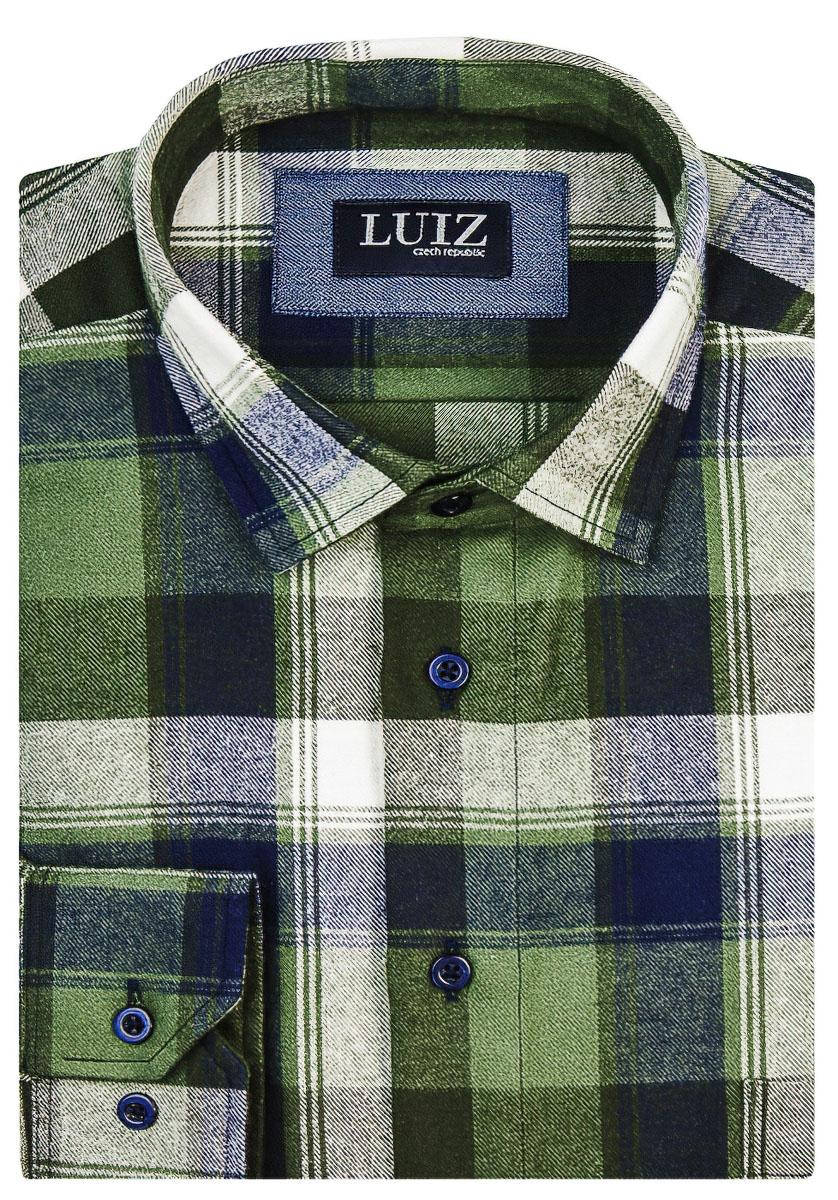 Pánská košile LUIZ flanelová zeleno-modré káro BRUNO 105, dlouhý rukáv
