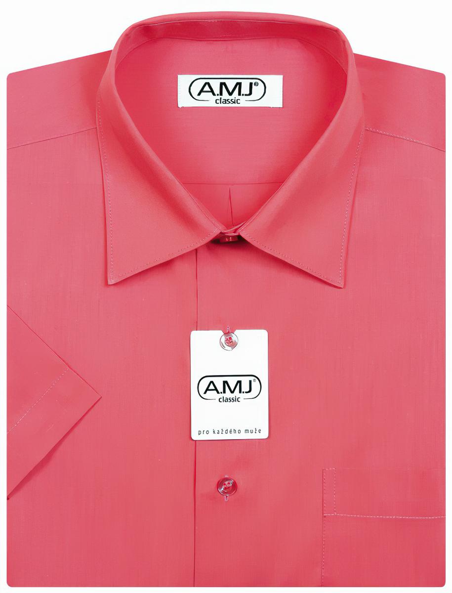 Pánská košile AMJ jednobarevná JD078, malinová, dlouhý rukáv