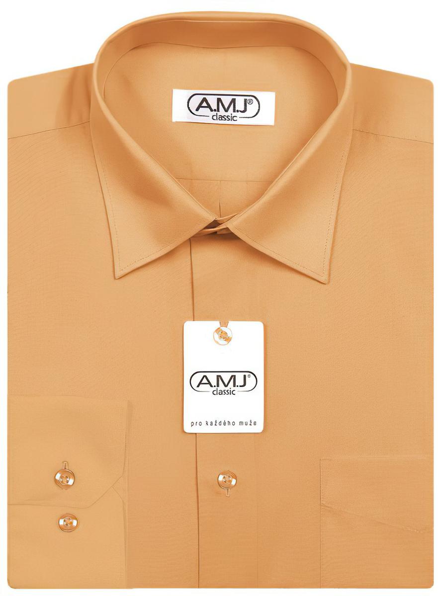 Pánská košile AMJ jednobarevná JDP010, meruňková, dlouhý rukáv, prodloužená délka
