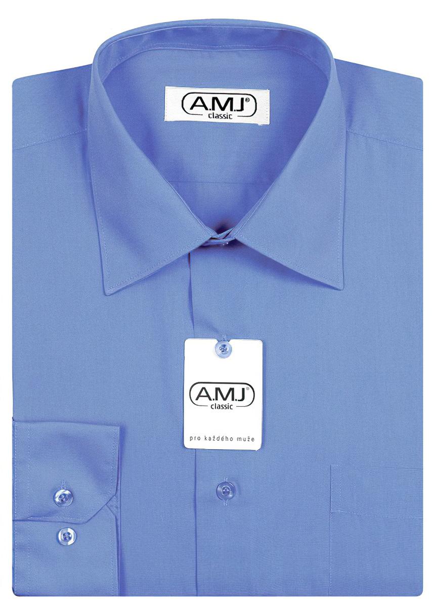 Pánská košile AMJ jednobarevná JD067, modrá, dlouhý rukáv