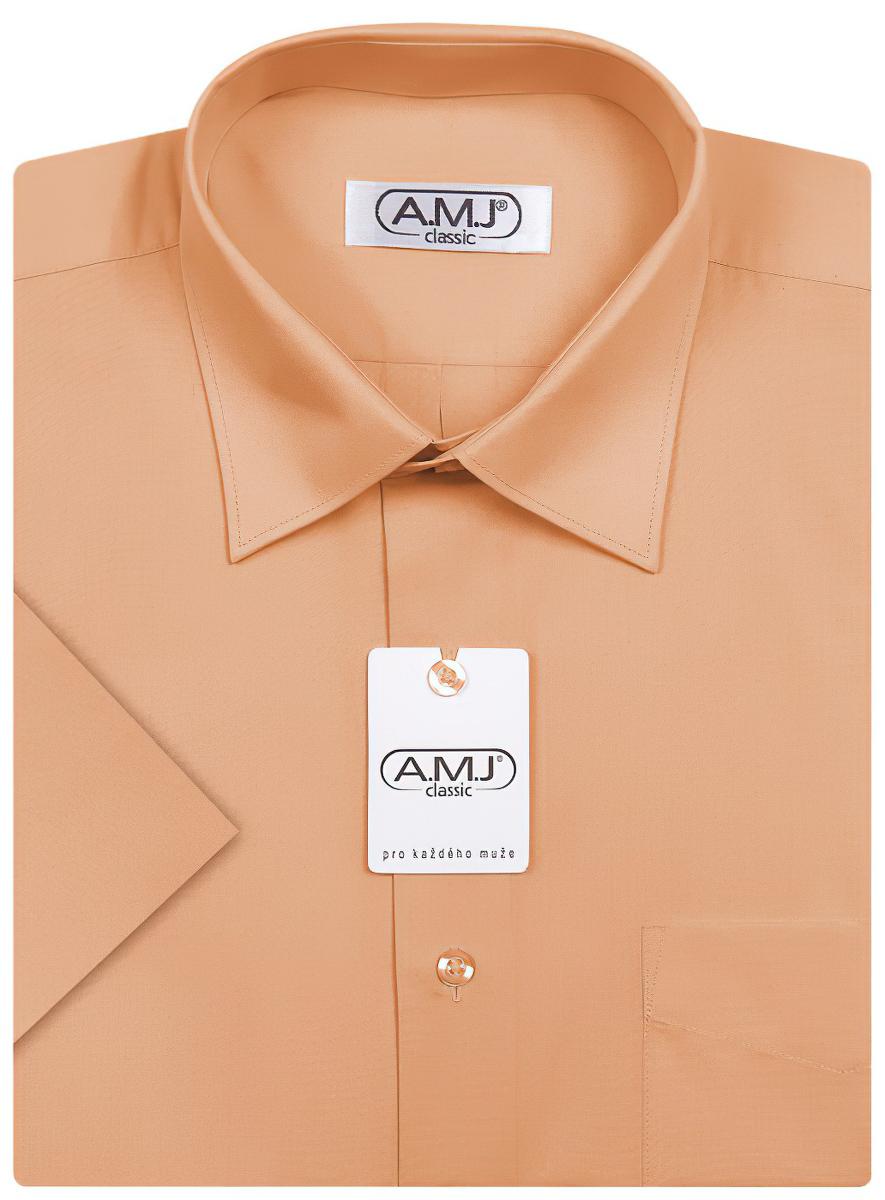 Pánská košile AMJ jednobarevná JK052, pomerančová, krátký rukáv
