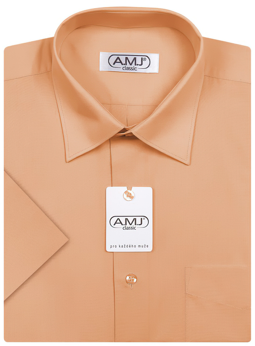 Pánská košile AMJ pomerančová jednobarevná JDP052, dlouhý rukáv, prodloužená délka
