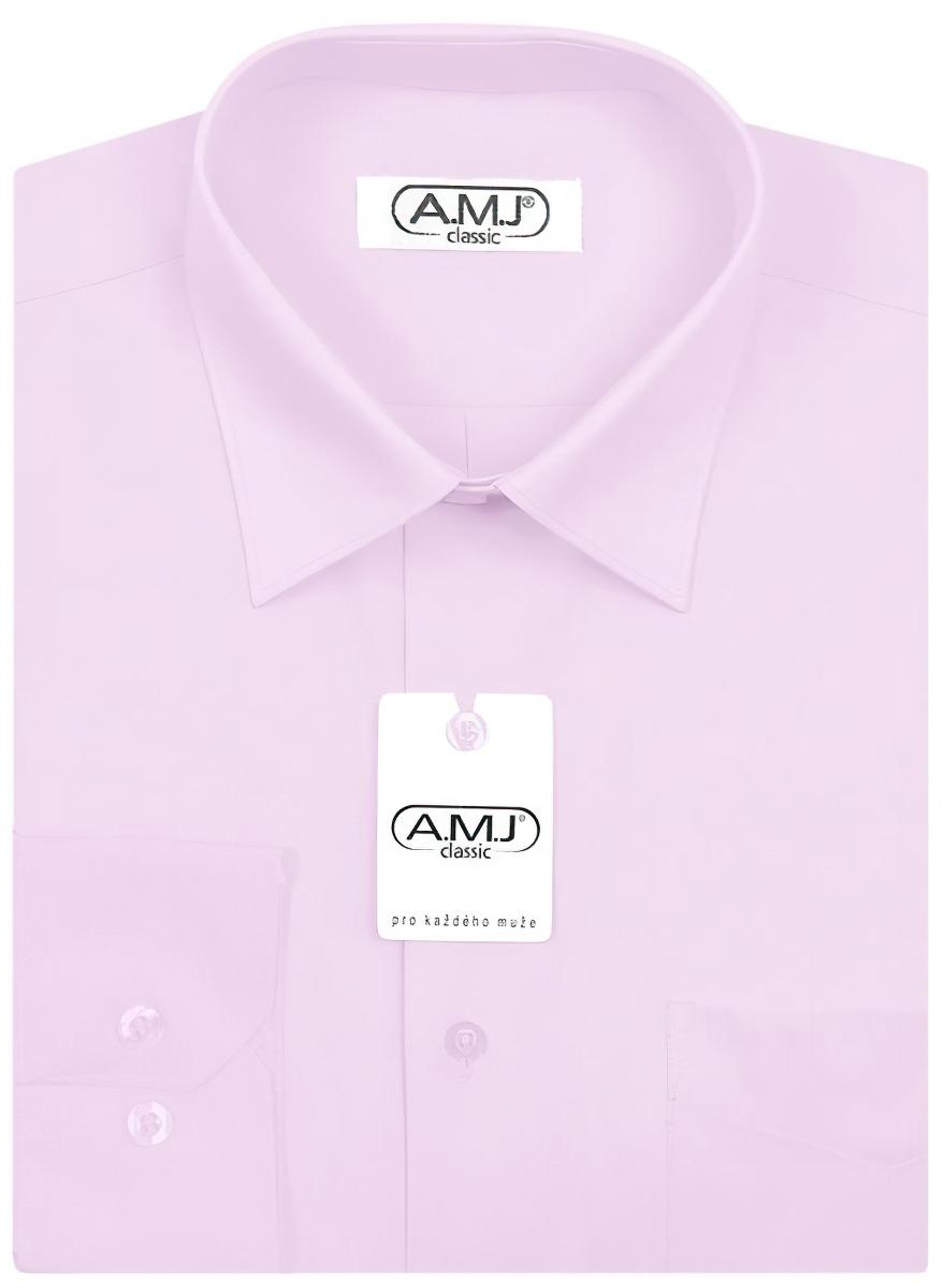 Pánská košile AMJ jednobarevná JDP088, růžová, dlouhý rukáv, prodloužená délka