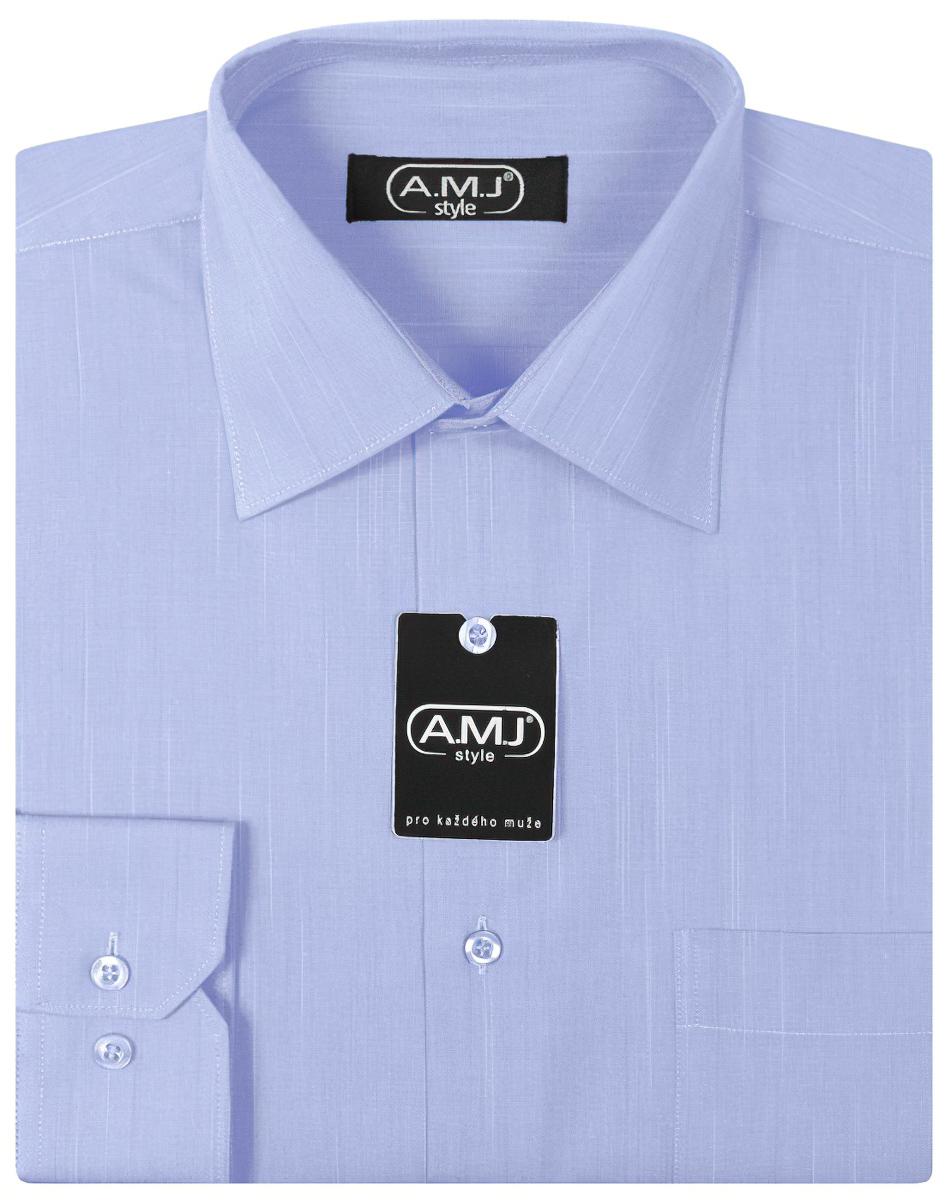 Pánská košile AMJ jednobarevná VDP282, fil-á-fil, dlouhý rukáv, prodloužená délka