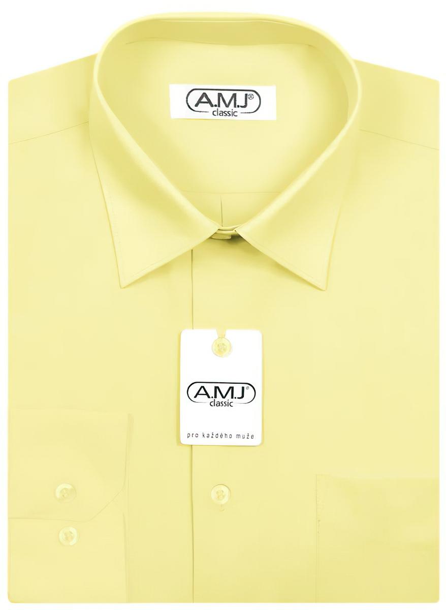 Pánská košile AMJ jednobarevná JD036, světle žlutá, dlouhý rukáv