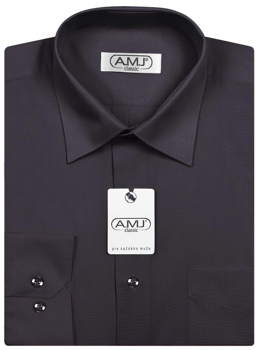 Pánská košile AMJ jednobarevná JDP019, tmavě šedá, dlouhý rukáv, prodloužená délka