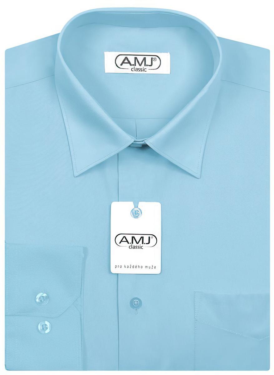 Pánská košile AMJ jednobarevná JD060, tyrkysová, dlouhý rukáv