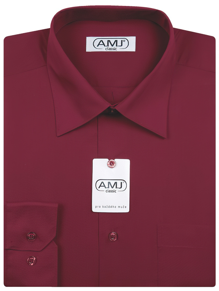 Pánská košile AMJ jednobarevná JD006, vínová, dlouhý rukáv