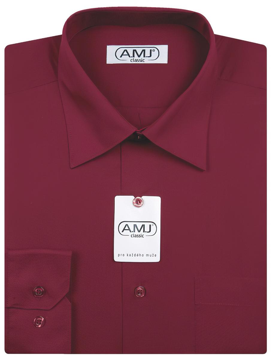 Pánská košile AMJ jednobarevná JDP006, vínová, dlouhý rukáv, prodloužená délka