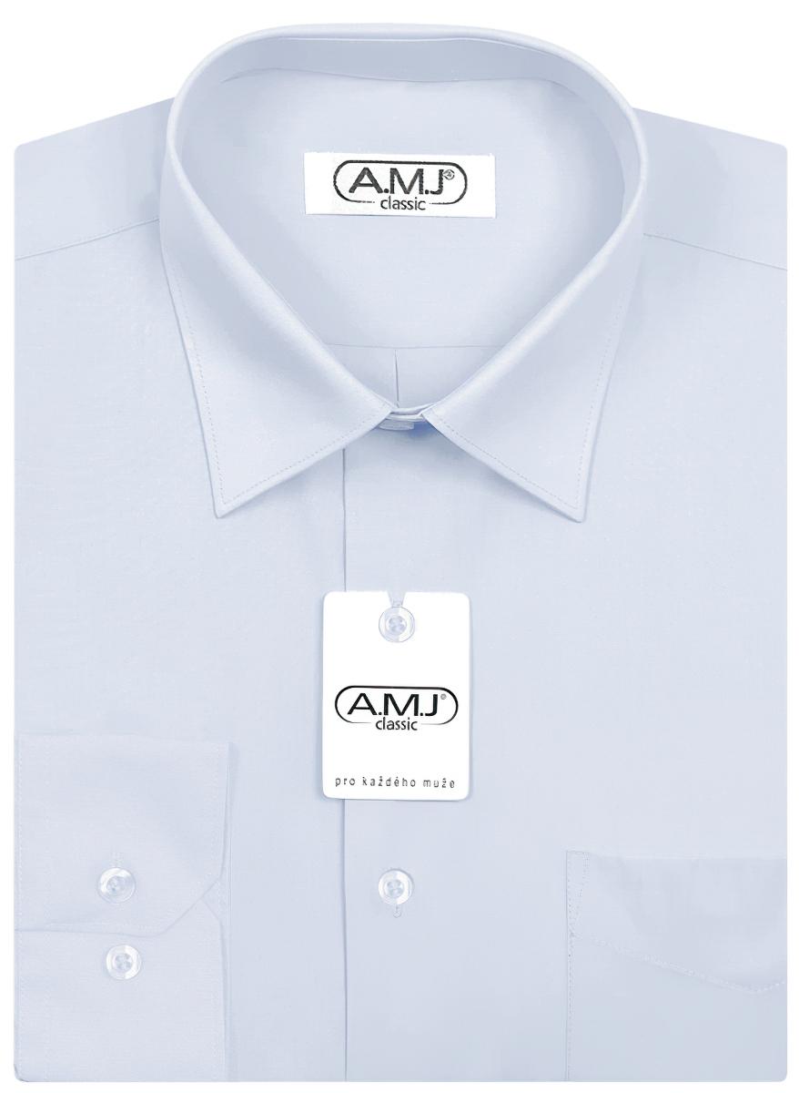 Pánská košile AMJ jednobarevná JDP005, světle modrá, dlouhý rukáv, prodloužená délka