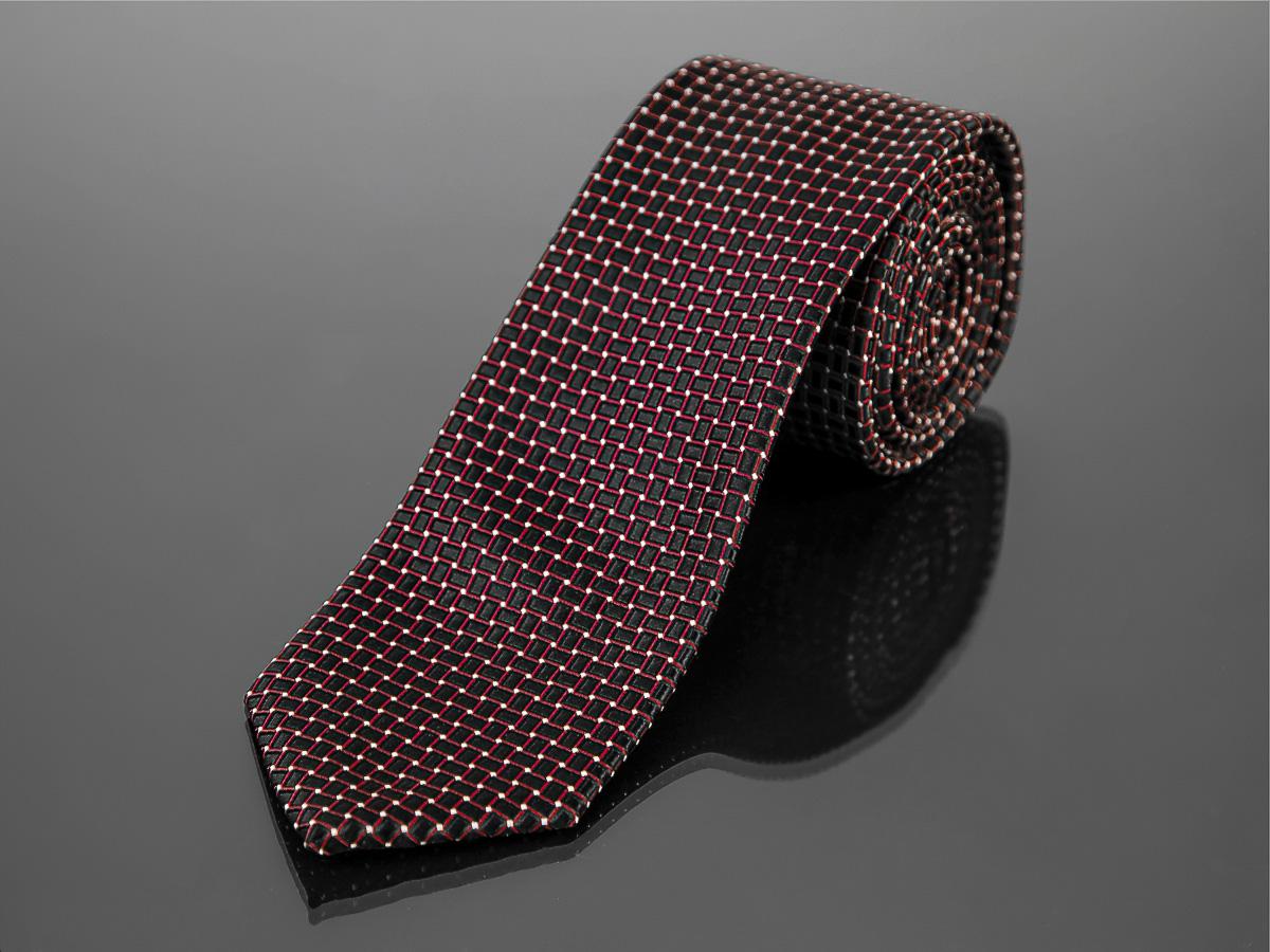 Kravata pánská AMJ, kostkovaný vzor KU1043, červeno černá