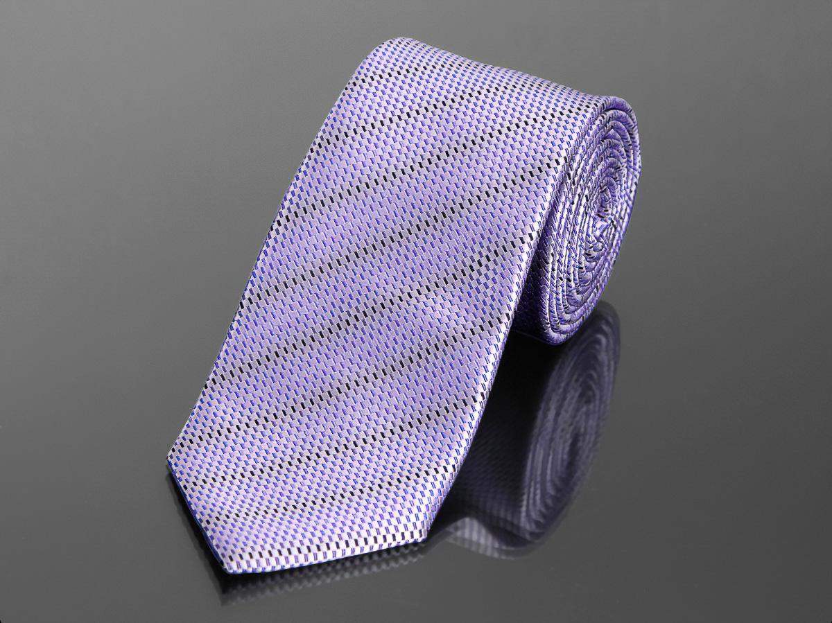 Kravata pánská AMJ, proužkovaná KU0646, fialová