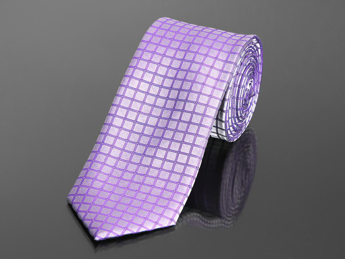 Kravata pánská AMJ, kostkovaná KU0648, fialová