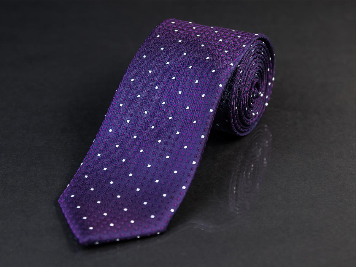 Kravata pánská AMJ, KU0907, fialová / malé kostičky