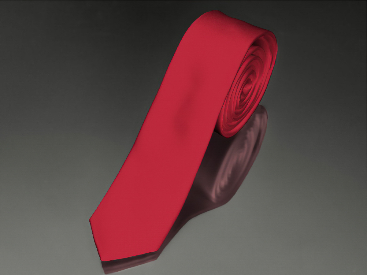 Kravata pánská AMJ úzká jednobarevná KI0007, červená