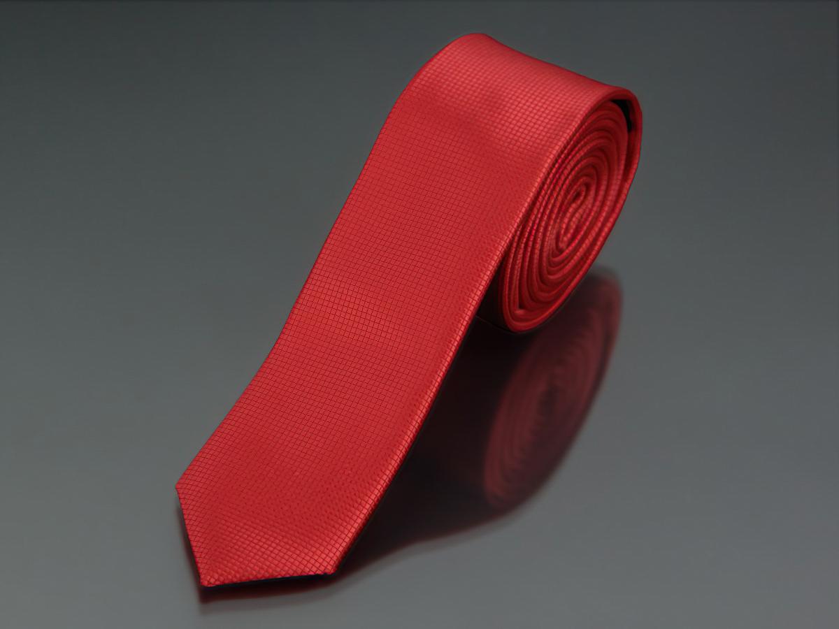 Kravata pánská AMJ úzká jednobarevná KI0015, červená