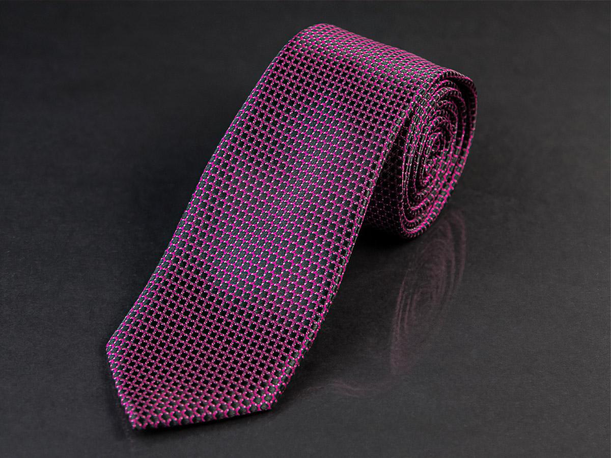 Kravata pánská AMJ, KU0839, fialová / černé kostičky